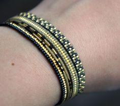 Set of 5 Miyuki beaded bracelets handmade Gold plated