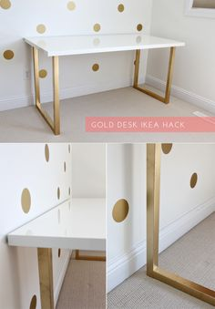 View full blog post here: www.justbellablog.com/2013/06/gold-desk-ikea-hack.html