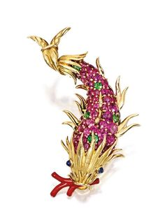 18 Karat Gold, Colored Stone and Enamel Fish Brooch, Schlumberger for Tiffany & Co. #jewelry