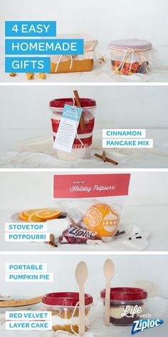 Great ideas for homemade holiday gifts. Layer cinnamon pancake mix inside a Ziploc® Twist 'N Loc, create portable pumpkin pie and red velvet layer cake, or make your own holiday potpourri. Thoughtful and super simple gifts that are easy to transport.