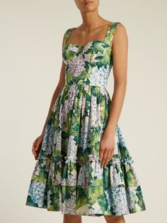 Click here to buy Dolce & Gabbana Hydrangea-print gathered-skirt cotton-poplin dress at MATCHESFASHION.COM