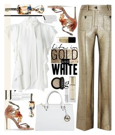"""""""Gold and White"""" by sweet-designs ❤ liked on Polyvore featuring Lanvin, Roberto Cavalli, Gucci, Jimmy Choo, Michael Kors, Guerlain and Lancôme"""