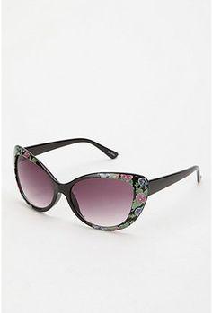 bcee5fb883 FLORAL CORNER CAT-EYE SUNGLASSES Cute Glasses