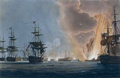 Battle of the Nile, by Thomas Whitcombe (born London 1763 - 1824c) Thomas Whitcombe resided in Bristol approx 1797