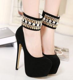 Black and gold high heels shoes