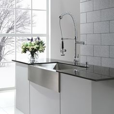 Kraus 36 Inch Farmhouse Single Bowl Stainless Steel Kitchen Sink With  Commercial Style Kitchen Faucet And Soap Dispenser (Chrome 33 Inches    Silver