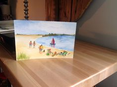 A Day at the Beach in watercolor