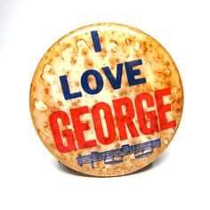 1960s The Beatles Badge I Love George Harrison Pin by hensfeathers, $11.00