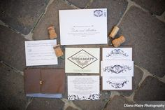 Wine label themed save the dates were designed and sent to the guests with custom wine corks.  A formal crest with the couple's monogram became the logo for the winery wedding reception. Click to see the blush and brown suite or pin for later.