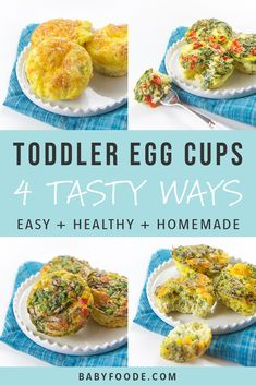baby kids These healthy, make ahead Toddler Breakfast Egg Cups come in four different tasty combinations and are filled with vegetables, eggs, cheese and even bacon! A filling and nutritious breakfast for your toddler that is perfect for on-the-go eating. Healthy Toddler Breakfast, Baby Breakfast, Nutritious Breakfast, Breakfast On The Go, Breakfast Egg Cups, Breakfast Ideas For Toddlers, Breakfast Recipes, Healthy Toddler Food, Healthy Meals For Toddlers