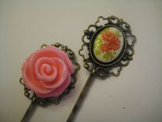 Vintage floral cabochon and pink rose on filigree bobby pins
