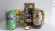 Recycled Beer Bottle Candles