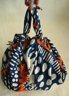 Furoshiki Cloth Rainy Morning in Cobalt Blue Orange and by joyjoie, $50.00