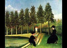 """DOUANIER ROUSSEAU, """"Le peintre et son modèle"""", 1900-1905, huile."""