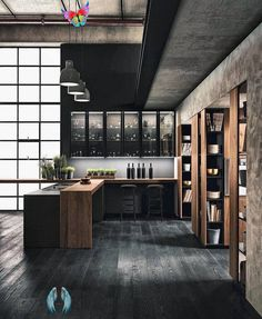Summer style!! Very modern contemporary black and wood kitchen with amazing style points -- look closely at the columns!<br> Modern Kitchen Cabinets, Modern Farmhouse Kitchens, Home Kitchens, Pantry Essentials, Wood Stool, Home Look, Layout Design, Modern Contemporary, Kitchen Design