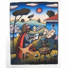 BBQ, Australia Jesus by Reg Mombassa on Curiator, the world's biggest collaborative art collection. National Art School, Digital Museum, Australia Day, Lowbrow Art, Landscape Illustration, Australian Artists, Illustrations And Posters, Buy Art, Photo Art