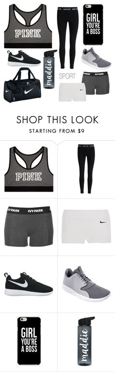 """RAW SPORT"" by caro-aistrup ❤ liked on Polyvore featuring Victoria's Secret, Bonds, Topshop, NIKE, sport, grey and training"