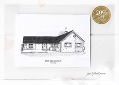 Custom House Portrait, Personalized House Drawing, Black and White, First Home Gift, Building Illustration, New Home Owner, Realtor Gift