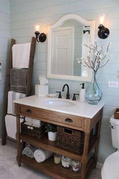 Salle de bain rustique style campagne chic  http://www.homelisty.com/salle-de-bain-rustique/