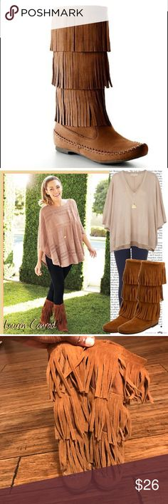 """Lauren Conrad Fringe Boots LC brown fringe boots. Small signs of wear and tear at heel and toe as pictured. Approx. 13"""" tall. Size 9, but no size tag is visible. LC Lauren Conrad Shoes Winter & Rain Boots"""