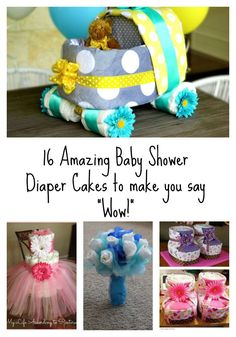 Need a creative baby shower gift? Diaper cakes are really trendy right now and we have a great list of 16 amazing baby shower diaper cakes. Diaper Cakes Tutorial, Diaper Cake Instructions, Diy Diaper Cake, Girl Diaper Cakes, Nappy Cakes, Baby Shower Crafts, Diy Baby Gifts, Baby Shower Gifts For Boys, Creative Baby Shower Gift