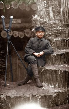 WWI, German scout in the trenches, Gallicia. -AKG Images