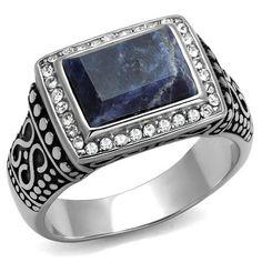 Men's Blue Sodalite Russian Lab Diamond & Stainless Steel Wedding Band Ring