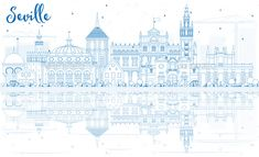 Outline Seville Skyline with Blue Buildings and Reflections.
