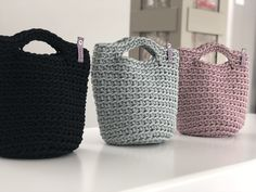 Crochet bags.  Crocheted tote bags. Handbags.  Dusty Lavender Mint Black