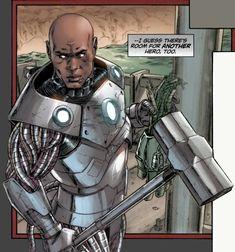 John Henry aka Steel...New 52 Dc Heroes, Comic Book Heroes, Comic Books Art, Book Art, Dc Comics Art, Marvel Dc Comics, Steel Dc Comics, Starfire Dc, Black Comics