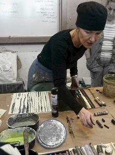 Ines Hildur, artist in her art studio #workspace ines-hildur.de