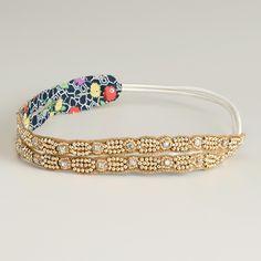 Natural and Gold Beaded Elastic Double Headband | World Market