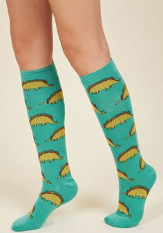 Dino In or Carry Out? Socks. Whether you're rockin' these turquoise socks for an evening of take-out or a night at your favorite diner, you serve up a look rich in vitamin 'tee-hee'! #green #modcloth