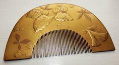 ANTIQUE JAPANESE KUSHI COMB EDO PERIOD GOLD LACQUER KANZASHI HAIR ORNAMENT KUSHI in Antiques, Asian/ Oriental Antiques, Japanese, Other Japanese | eBay