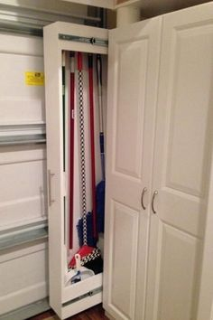 Sliding Home Organizers for Mops and Brooms, Space Saving Storage Solutions - Sliding additions to the existing storage Best Picture For diy home decor For Your Taste You are - Broom Closet Organizer, Broom Storage, Laundry Room Organization, Closet Storage, Laundry Rooms, Organization Ideas, Storage Ideas, Small Laundry, Fridge Storage