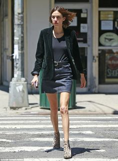 Alexa Chung dons animal-print booties with her mini-skirt in NYC | Daily Mail Online