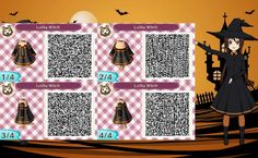 Its halloween time soon, so why not share some Halloween QR codes? All patterns have been made by Me and Other Pedia Contributors If a Certain QR code. Animal Crossing Qr, New Leaf, Qr Codes, Halloween, Pattern, Animals, Image, Vestidos, Animaux