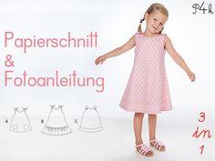 Papierschnitt Kleid / Tunika Steffi. 3 Varianten von pattern4kids - Schnittmuster für Baby- und Kinderkleider als ebook download oder Papierschnitt mit Nähanleitung auf DaWanda.com