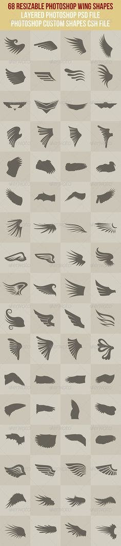 Buy 68 Photoshop Wing Shapes by vilord on GraphicRiver. 68 resizable wing shapes in layered photoshop psd file and custom shapes csh file. Gfx Design, Logo Design, I Tattoo, Cool Tattoos, Wing Tattoos, Logo Sketch, Brushes Free, Cs6 Photoshop, Eagle Wings