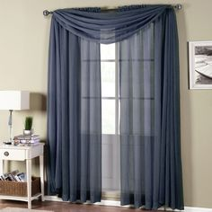 Abri Navy Rod Pocket Crushed Sheer Curtain Panel