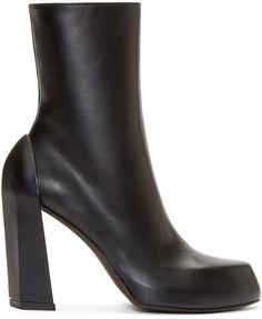 Ann Demeulemeester: Black Leather Platform Boots | SSENSE