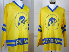 Swedish Vintage Hockey Jersey Yellow Blue Ice Hockey Jersey