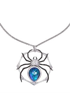 Stephen Webster Spider Pendant Necklace - White Gold: Kt 18. White Gold Weight: Gr 22.71. 161 White Diamonds: Ct 3.08. Black Sapphires: Ct 1.68. Pavè details. Black Opal and Quartz center stone.