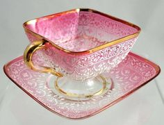 Pink and white tea cup