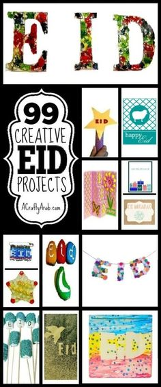 99 Creative Eid Projects {Resource} by A Crafty Arab Eid Activities, Eid Holiday, Geography For Kids, Eid Crafts, Ramadan Gifts, Islam For Kids, Eid Al Fitr, Fun Crafts For Kids, Kids Cards