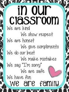 In Our Classroom....We Are Family! Poster