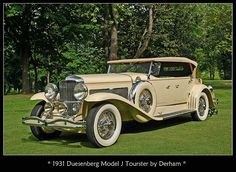 Vintage Cars 1931 Duesenberg Model J Tourster Derham - The 2013 Concours of America best in show Duesenberg and Alfa Romeo. Images courtesy of Concours d'Elegance of America. 'Twas the year of the straight-eight at Auto Retro, Retro Cars, Vintage Cars, Antique Cars, Vintage Auto, Duesenberg Car, Automobile, Classy Cars, Old Classic Cars