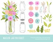 "Mason Jar Flowers Clip art: ""FLOWERS CLIPART"" Digital clipart for scrapbooking, card, invites. Flower, mason jar, rustic."