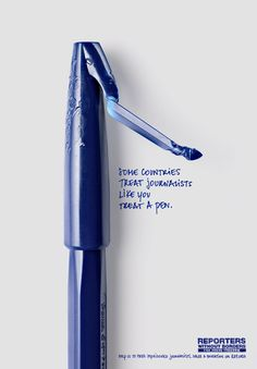 """Gráfica Reporters without Borders """"Some countries treat journalists like you treat a pen"""" Fuente: Buena Publicidad Clever Advertising, Advertising Poster, Advertising Design, Advertising Campaign, Marketing And Advertising, Display Advertising, Ads Creative, Creative Posters, Reporters Sans Frontières"""