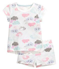 Trikåpyjamas med shorts | Vit/Moln | Kids | H&M SE
